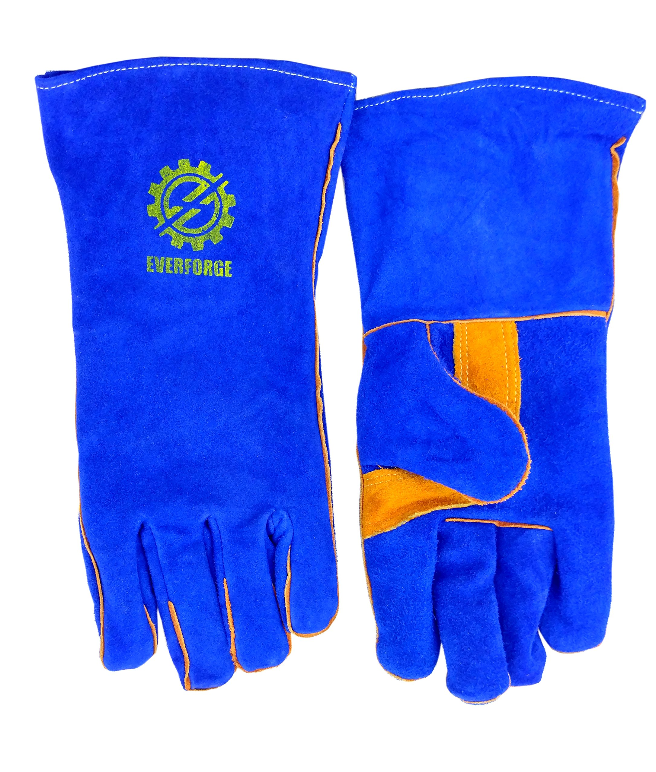 Welding Gloves 14'' for Arc, MIG and TIG Welders with 1 Steel Welding Rod - Heavy Duty Reinforced Kevlar Stitching, Extreme Heat Resistant Double Insulation, One Size - S, M, L, XL, XXL- Blue by Everforge (Image #4)