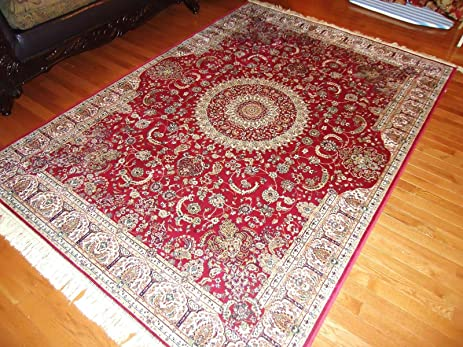 Amazon.com: Stunning Silk Persian Area Rugs Red Door Mats Indoor ...