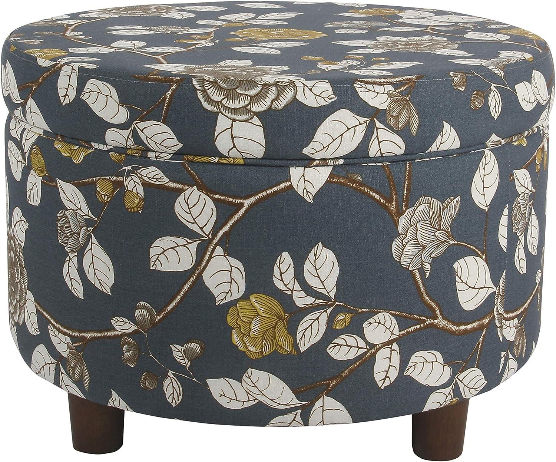 HomePop Round Upholstered Storage Ottoman, Navy Floral