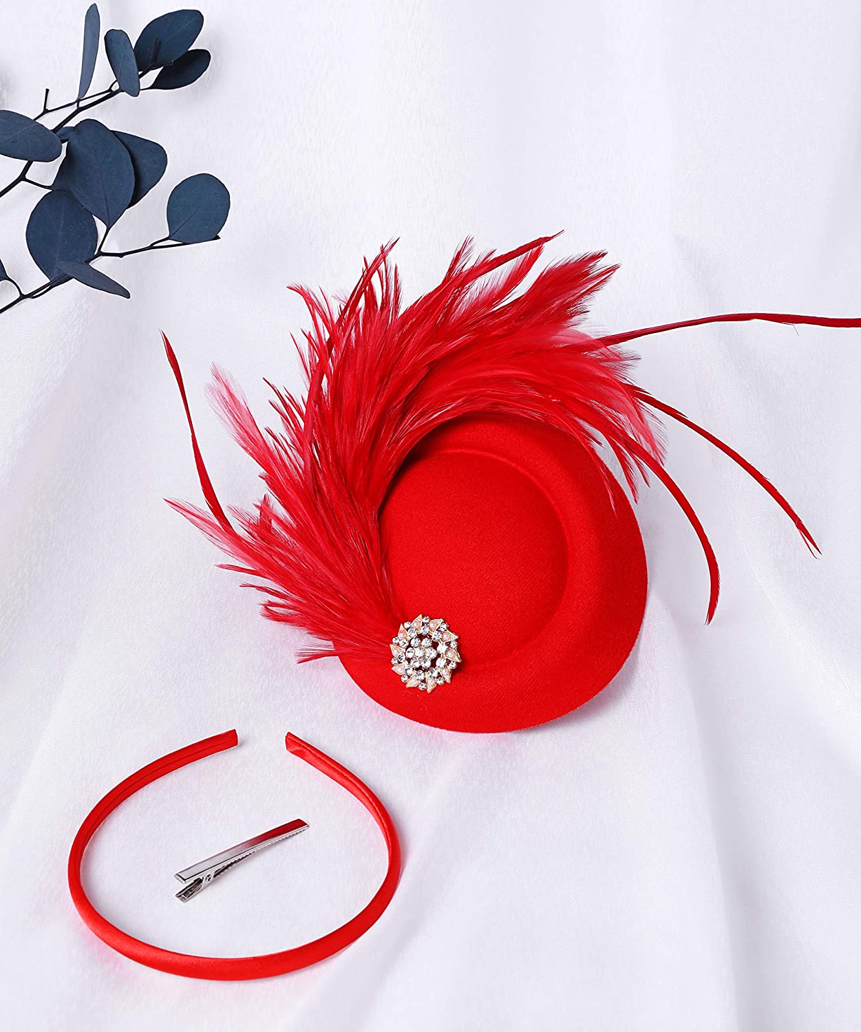 BABEYOND Tea Party Fascinator Hat for Women Kentucky Derby Hat Fascinator Hair Clip Pillbox Hat Feather Fascinator Headband
