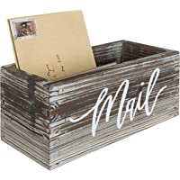 MyGift Rustic Torched Wood Tabletop Decorative Mail Holder Box