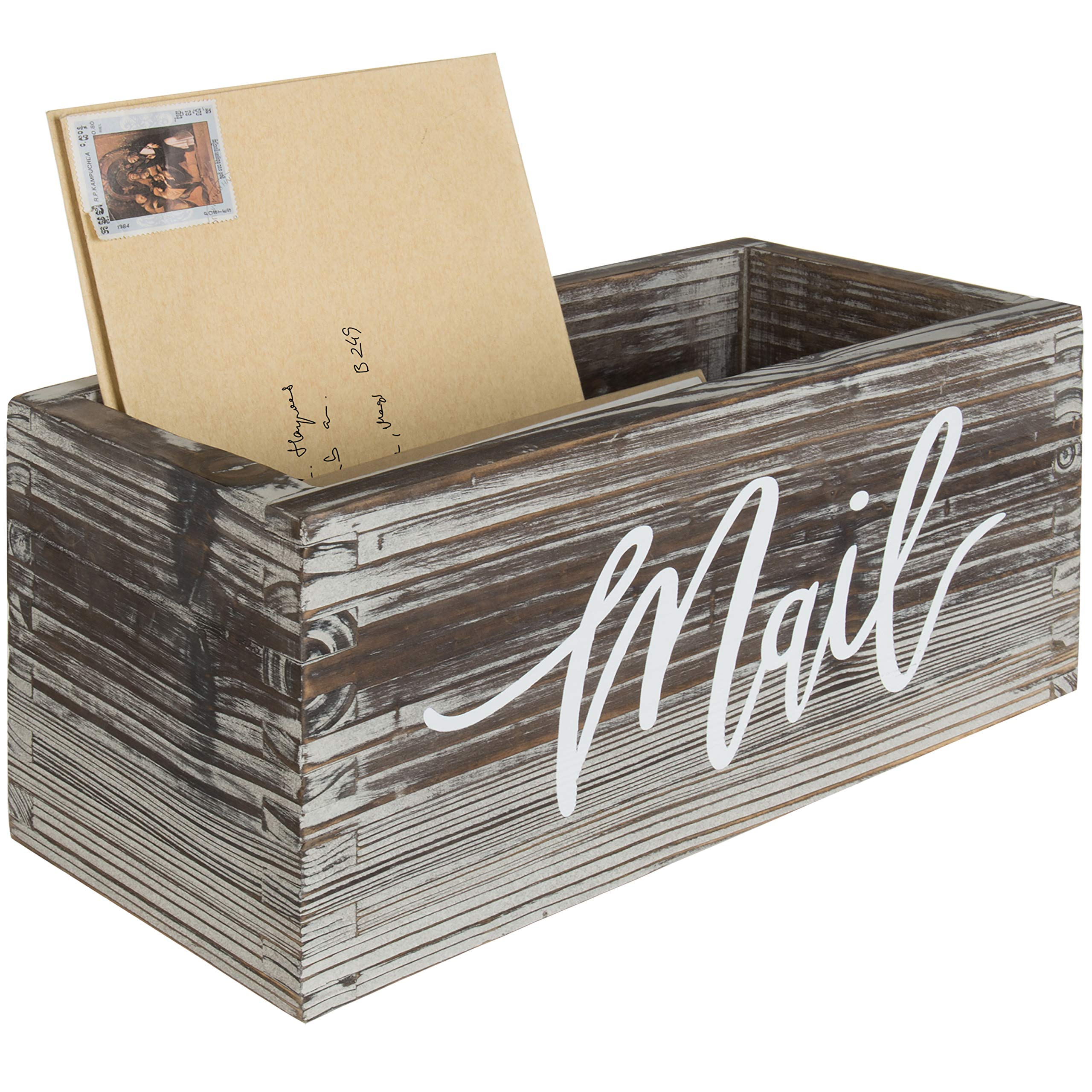 MyGift Rustic Torched Wood Tabletop Decorative Mail Holder Box by MyGift
