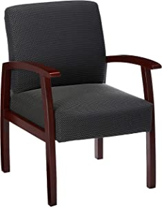 Lorell Guest Chairs, 24 by 25 by 35-1/2-Inch, Mahogany/Charcoal