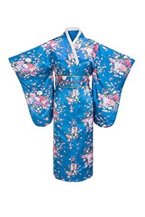 Old-to-new Women s Silk Traditional Japanese Kimono Robe with Floral Print  Blue 93909bfc3