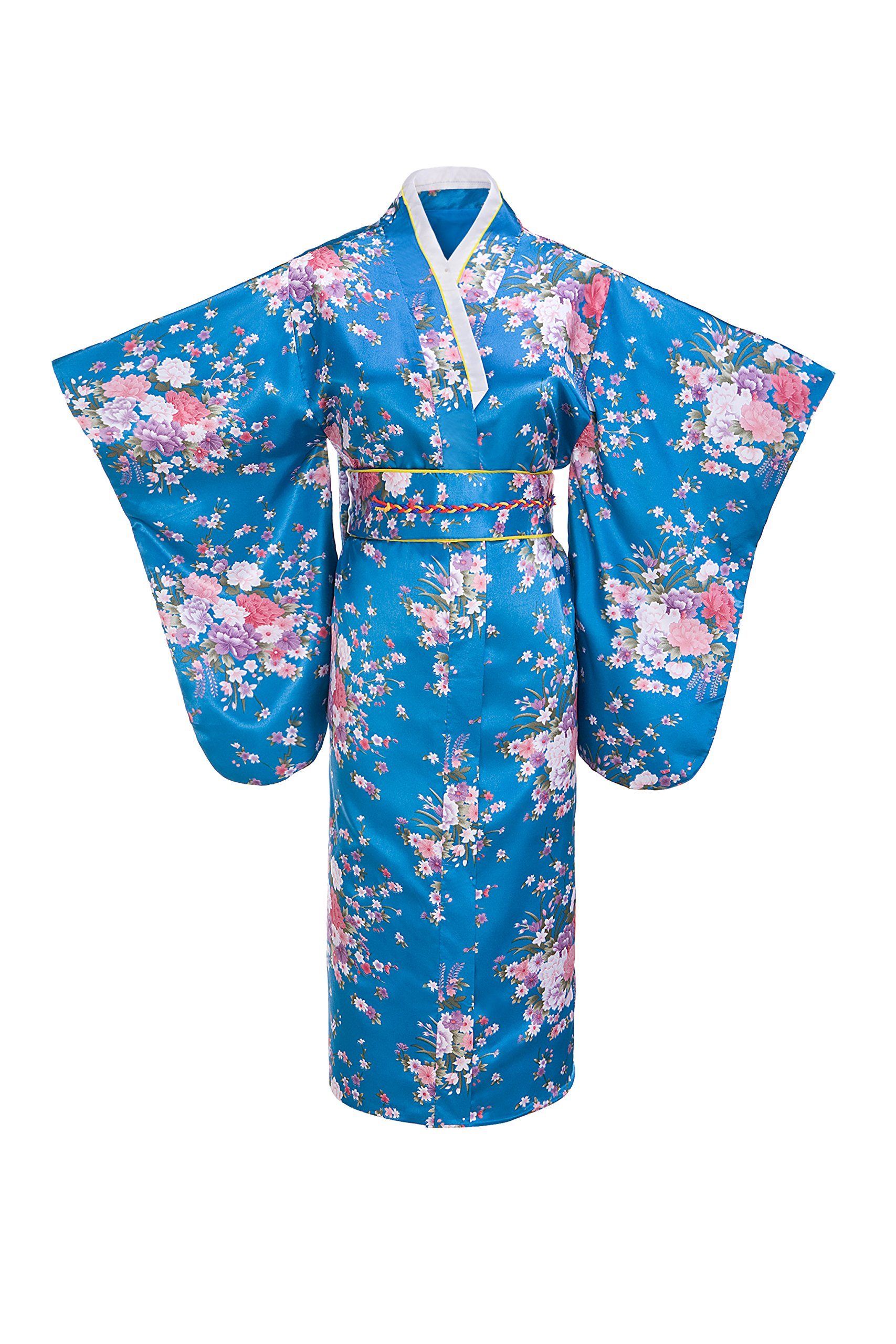 Old-to-new Women's Silk Traditional Japanese Kimono Robe with Floral Print Blue