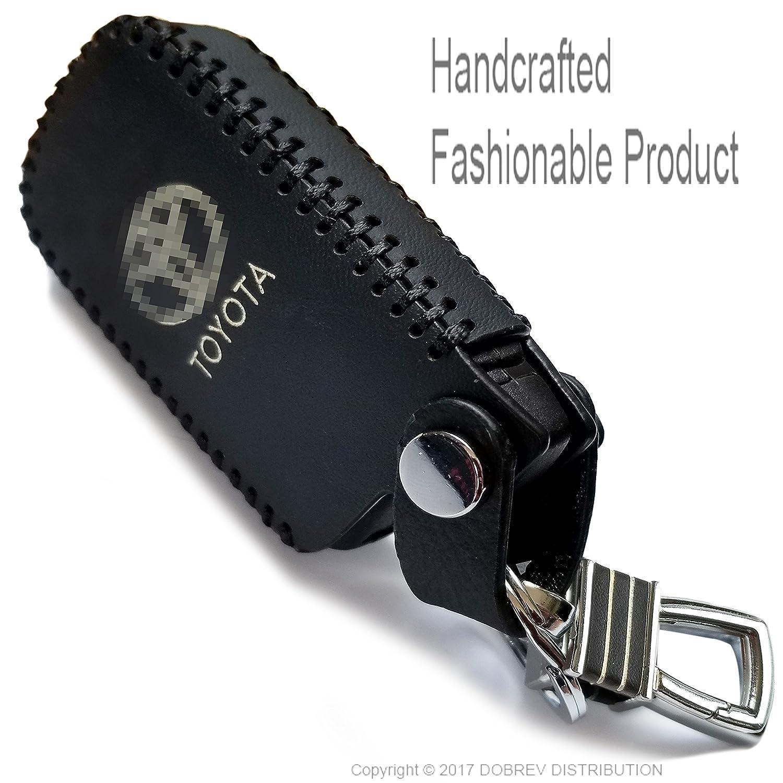 Red Massimiliano Incas Dobrev 4 Button Genuine Leather Cover Holder Protector Remote Smart Key Case for Toyota Camry Highlander RAV4