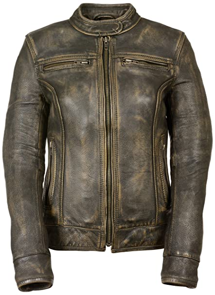 6e4d3c678 Milwaukee Women's Distressed Scooter Jacket with Venting (Brown, Medium)