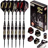 IgnatGames Steel Tip Darts Set - Professional Darts with Aluminum Shafts, Rubber O'Rings, and Extra Flights + Dart Sharpener