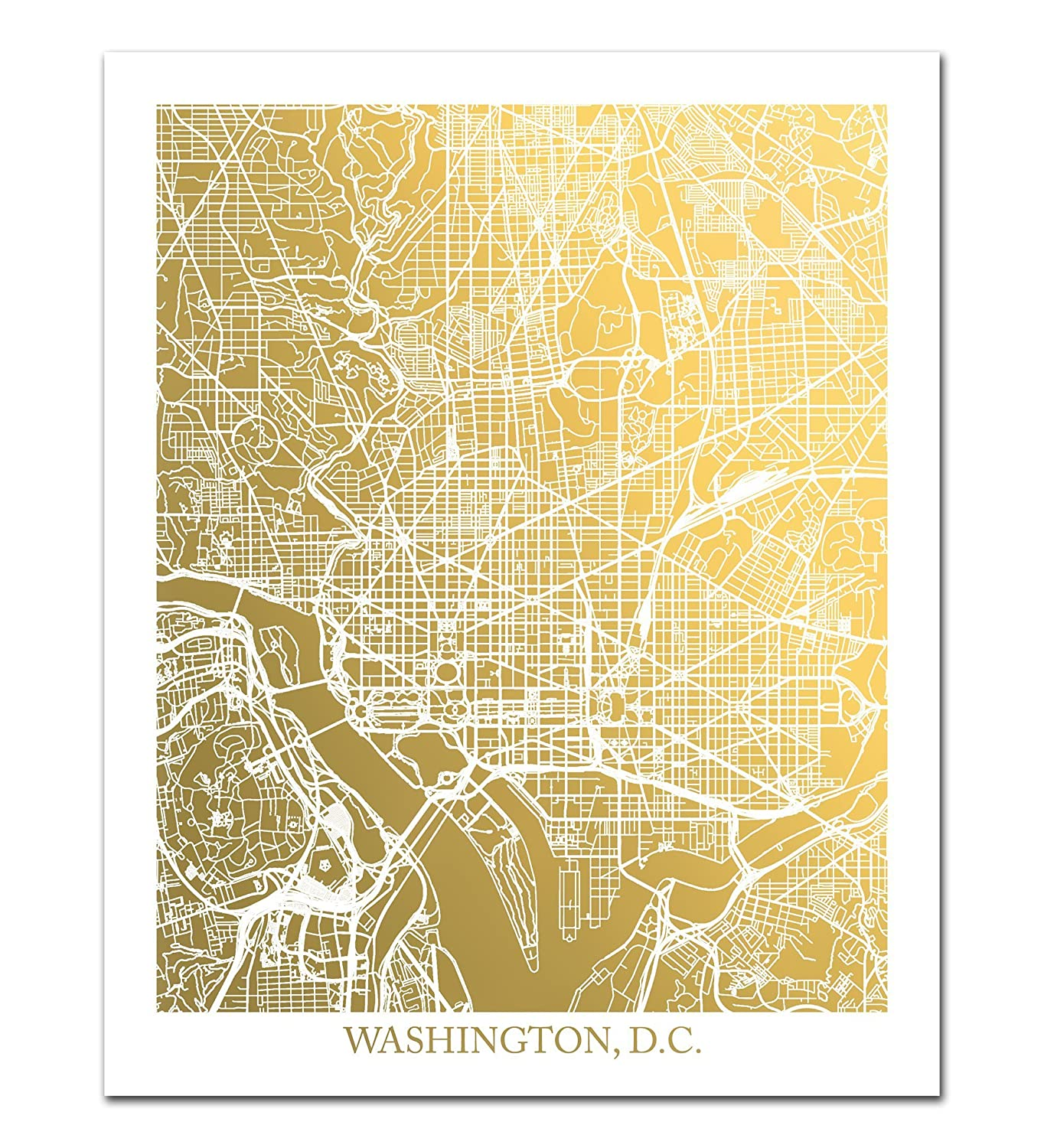 graphic relating to Washington Dc Printable Map referred to as : Washington D.C. Map Gold Foil Print Ideal for