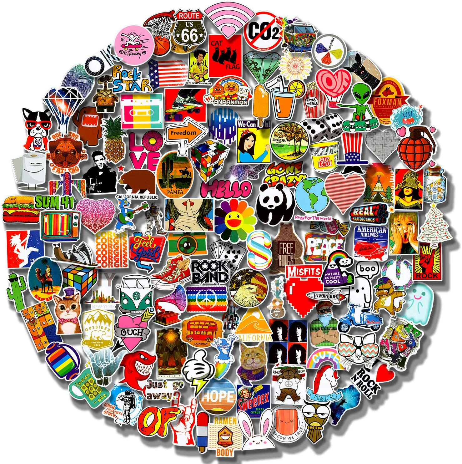 Cool Stickers 200Pcs Pack (50-500Pcs/Pack) Laptop Stickers for Waterbottle,Snowboard,Luggage,Motorcycle,iPhone,Mac