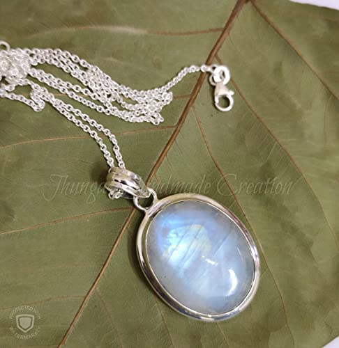 Sterling Silver Natural Rainbow Moonstone Pendant Handmade Silver Pendant Blue Fire Moonstone Pendant 925 Sterling Silver Pendant