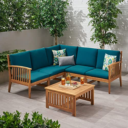 Maud Outdoor 5 Seater Acacia Wood Sofa Sectional Set