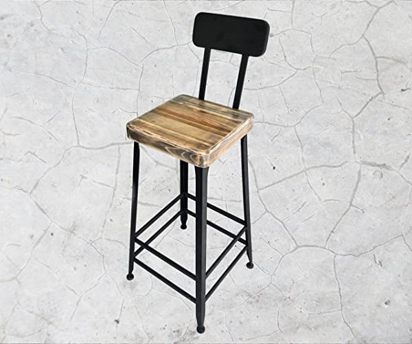 Super Amazon Com Vintage Industrial Style Bar Stool With Back Gmtry Best Dining Table And Chair Ideas Images Gmtryco