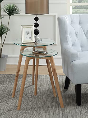 Convenience Concepts Clearview Nesting Round End Tables, Natural Glass