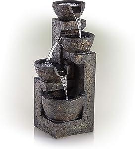 Alpine GIL1292 Cascading Three Tier Stone, 24 Inch Tall Bowl Fountain, Beige