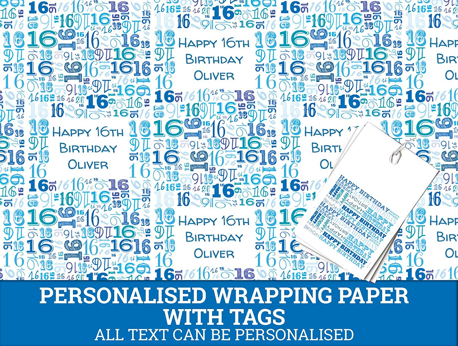 Blue Happy 16th birthday Personalised Wrapping Paper - 590mm x 840mm Dom and Geri