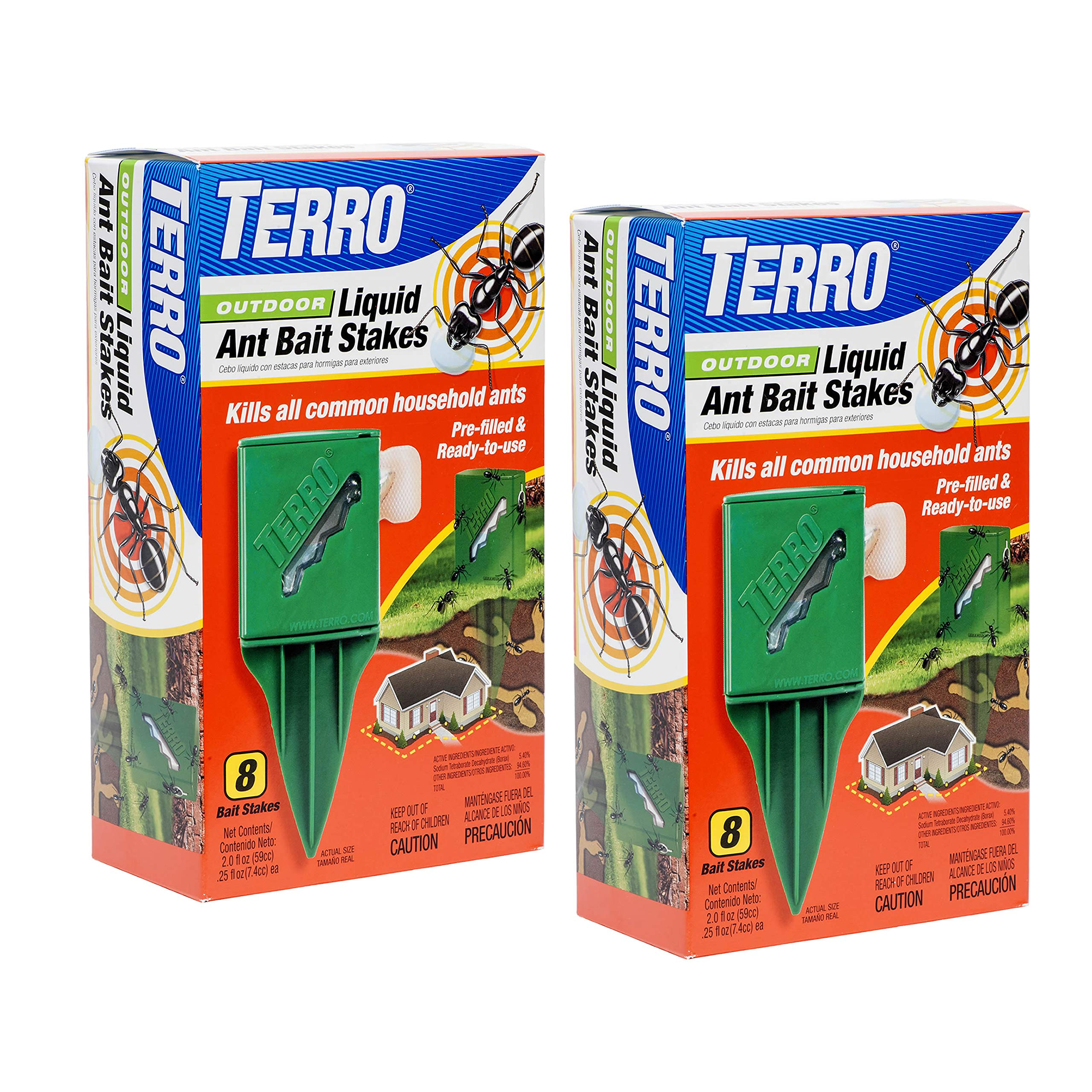 TERRO T1812SR Outdoor Liquid Ant Bait Stakes-2 Pack, Clear by Terro