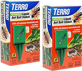 TERRO T1812SR Outdoor Liquid Ant Bait Stakes-2 Pack, Clear