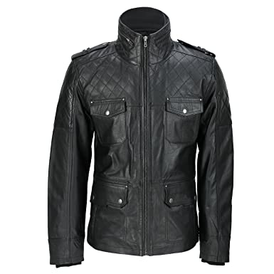 c48e541847 Mens New Black Real Leather Vintage Field Jacket Retro Smart Casual  Military Style Coat  Amazon.co.uk  Clothing