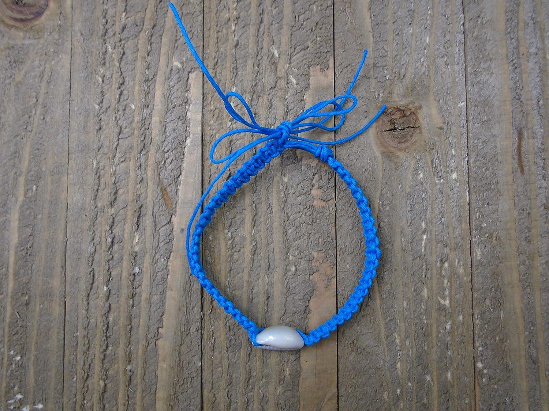 BEACH HEMP JEWELRY Bright Blue Cowrie Shell Anklet Bracelet Adjustable Handmade In USA