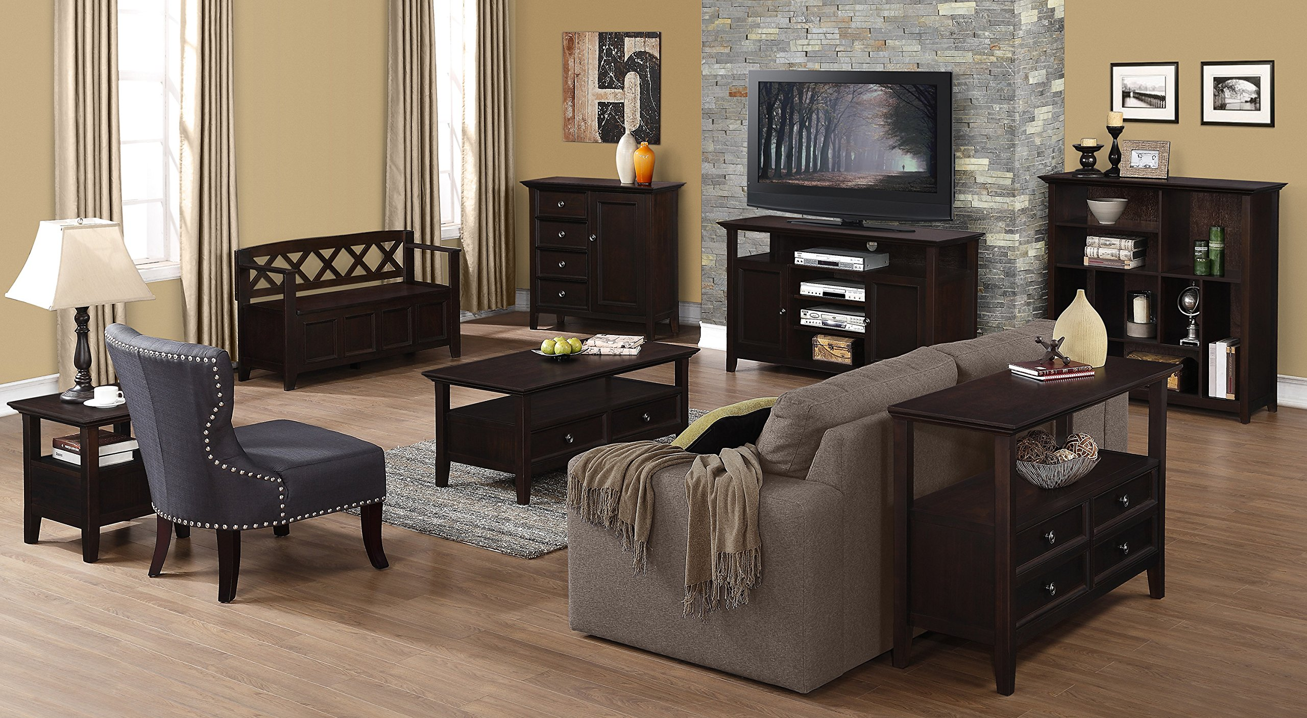 Simpli Home Amherst Solid Wood Entryway Storage Bench, Light Avalon Solid Wood Brown by Simpli Home (Image #9)