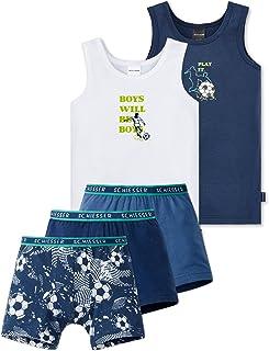 Leokids / Schiesser Schiesser Jungen - Fußball Soccer Großes 5 - Teiliges Unterwäsche Set Unterhemd + Shorts