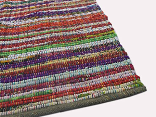 Eco friendly 100 recycled cotton colorful chindi area rug – 3 X5
