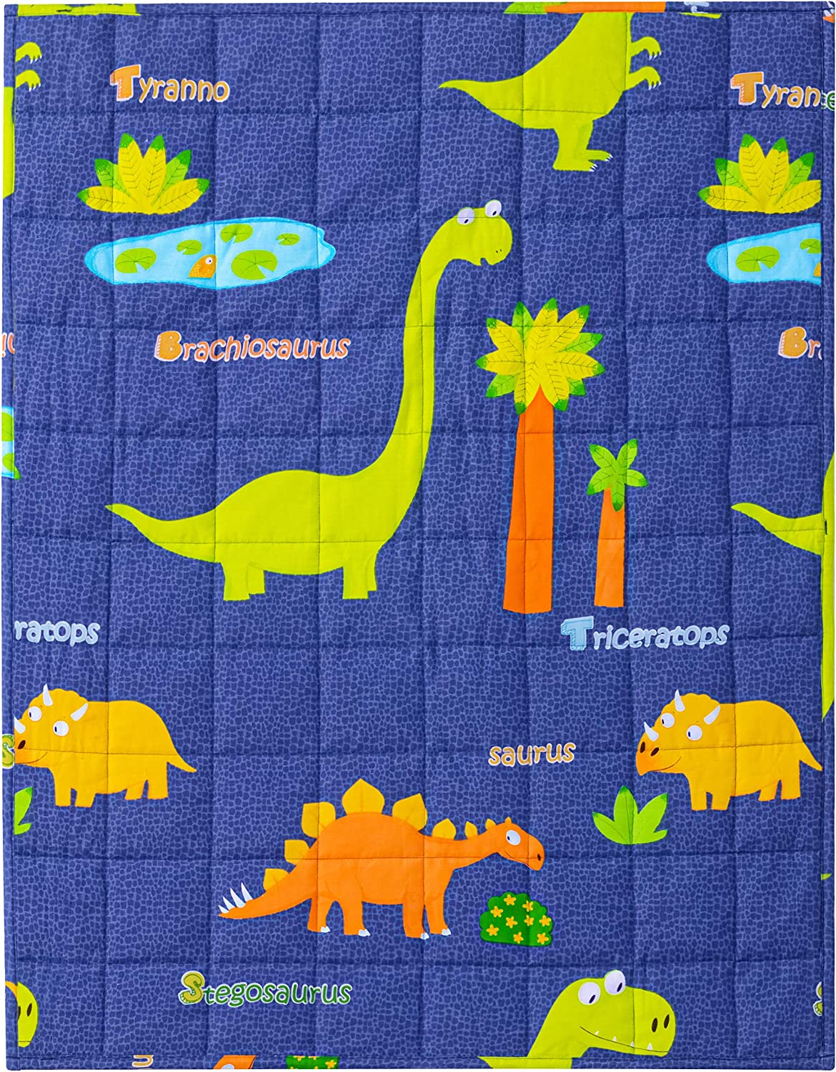 5lbs 600TC Egyptian Cotton Weighted Blanket for Reading with Glass Beads Blue Unicorn Joyching Weighted Lap Pad for Kids 20 x 30 inches