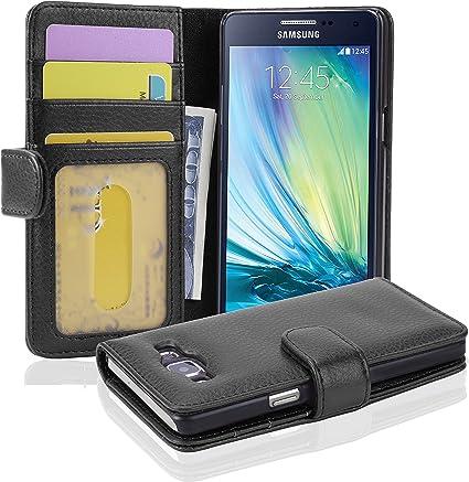Cadorabo Étui de protection pour Samsung Galaxy A5 2015 - Noir Midnight - Avec fermeture magnétique et 3 emplacements pour cartes - Portefeuille Etui ...