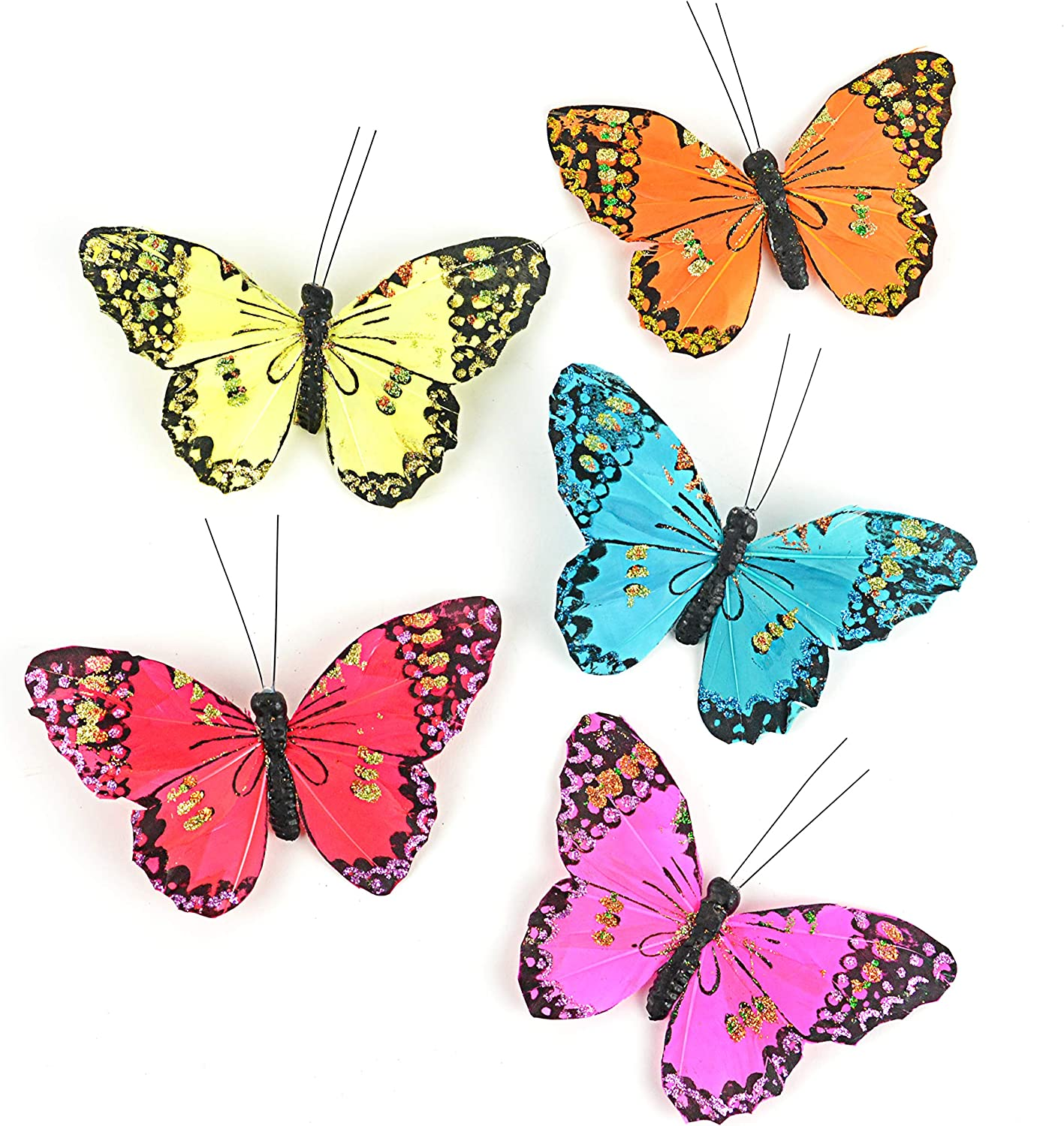 Touch of Nature 15 Piece Assorted Monarch Butterflies on a Clip - Arranging Supplies - Floral Decor - Spring Decor - Wreath Accents - Feather Butterfly - Craft Projects (20429)