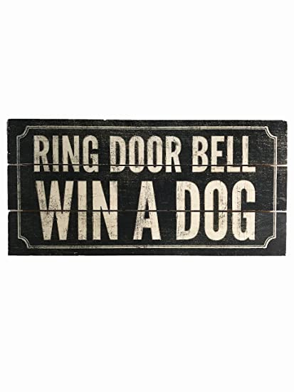 "Anillo Puerta Bell ganar un perro ""hecho a mano Reclaimed Letrero De Madera"