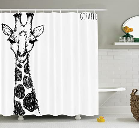House Decor Shower Curtain Set By Ambesonne, Cute Graphic Of Safari Giraffe  With His Tall