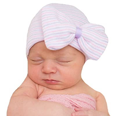 dff6abc757e Melondipity s Purple and Pink Nursery Striped Newborn Girl Hospital Hat  with Big Bow