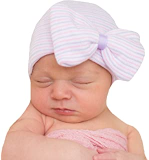 9d1c667fff2 Melondipity s Purple and Pink Nursery Striped Newborn Girl Hospital Hat  with Big Bow