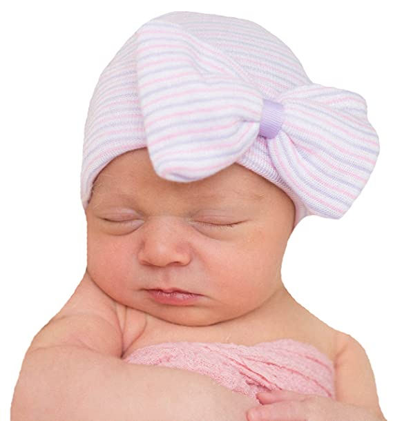 ffae0b25d Melondipity's Purple and Pink Nursery Striped Newborn Girl Hospital Hat  with Big Bow