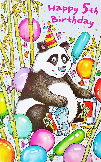 Amazon Happy 5th Birthday Greeting Card W Panda Bear Today