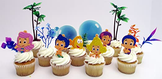 Wondrous Amazon Com Bubble Guppies Birthday Cake Cupcake Topper Set Funny Birthday Cards Online Alyptdamsfinfo