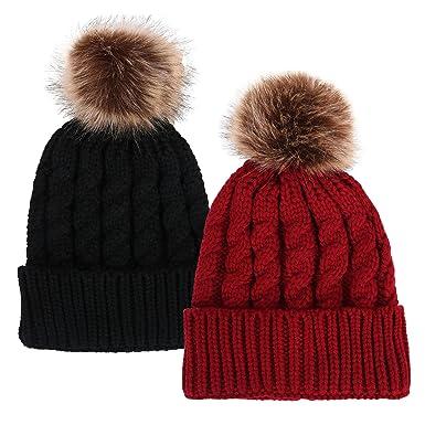 cc73e83c5 Simplicity Men/Women's Winter Hand Knit Faux Fur Pompoms Beanie Hat