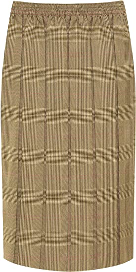 579cd88d8e WearAll Women's Plus Checked Tartan Print Elasticated Pleated Midi Skirt -  Brown Pink - US 16