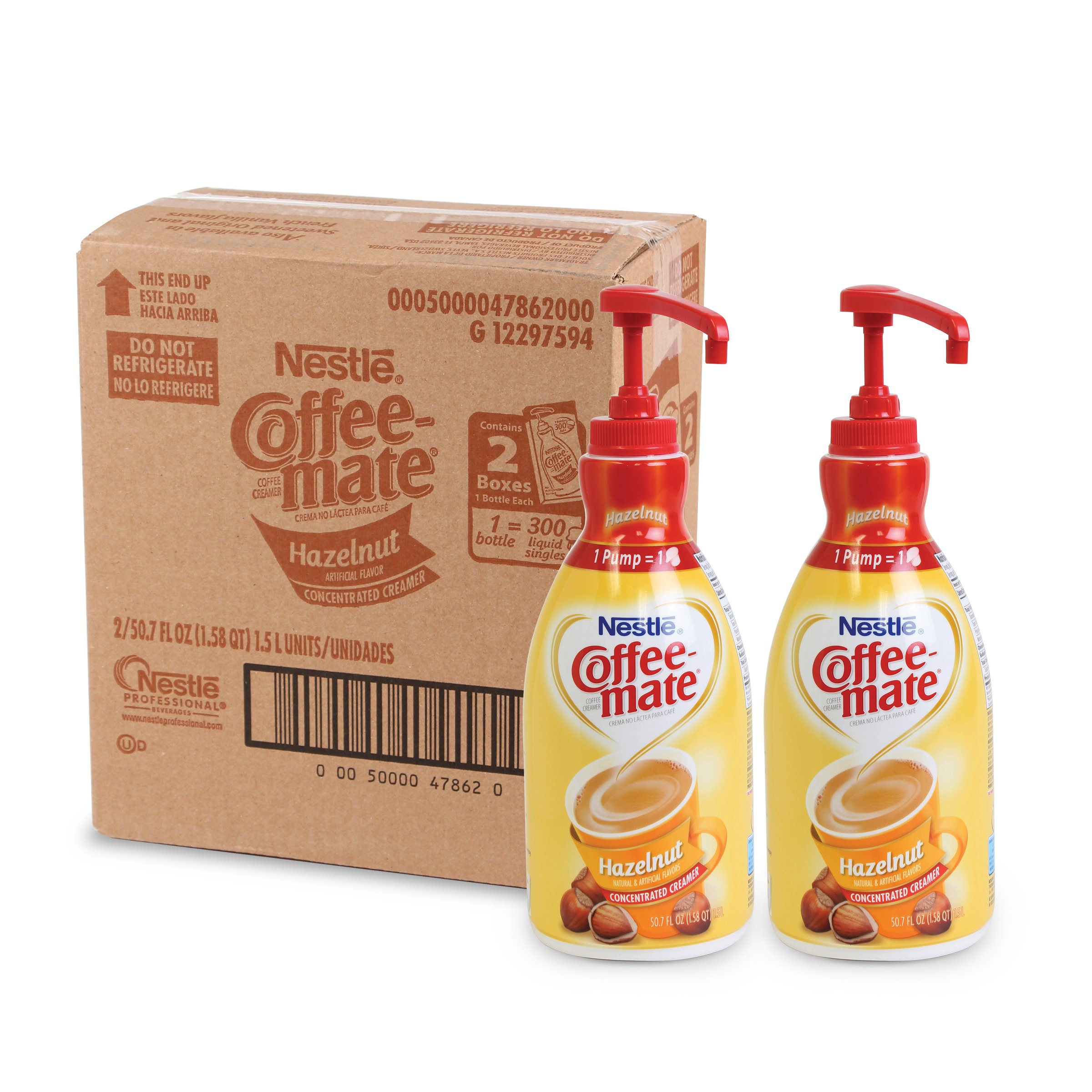 Nestle Coffee-mate Coffee Creamer, Hazelnut, 1.5L liquid pump bottle, Pack of 2 by Nestle Coffee Mate (Image #1)