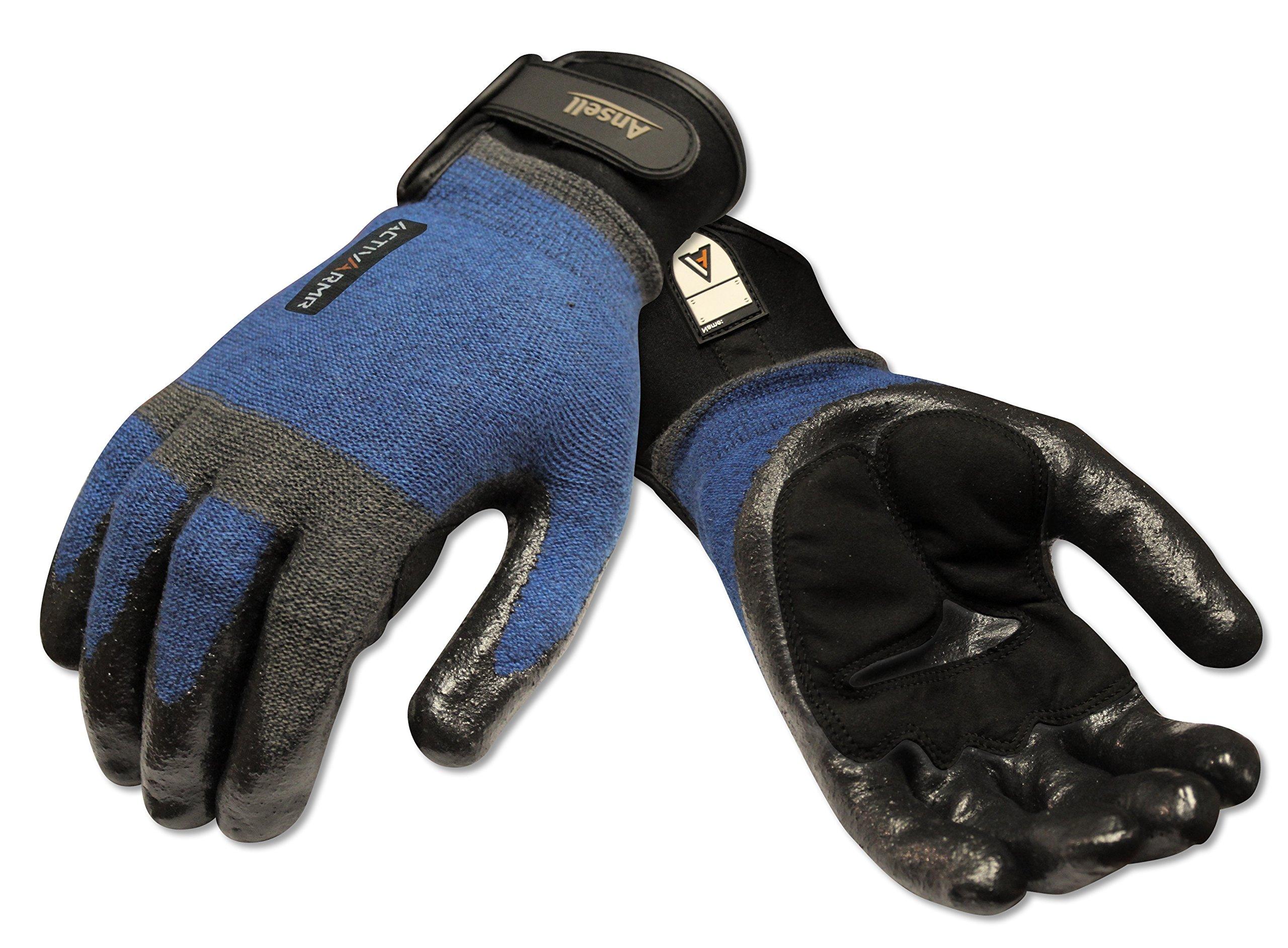 Ansell ActivArmr 97-003 Nitrile Coated Heavy Laborer Gloves, Cut Resistant, Adjustable Cuff, Medium, Blue/Black (1 Pair)