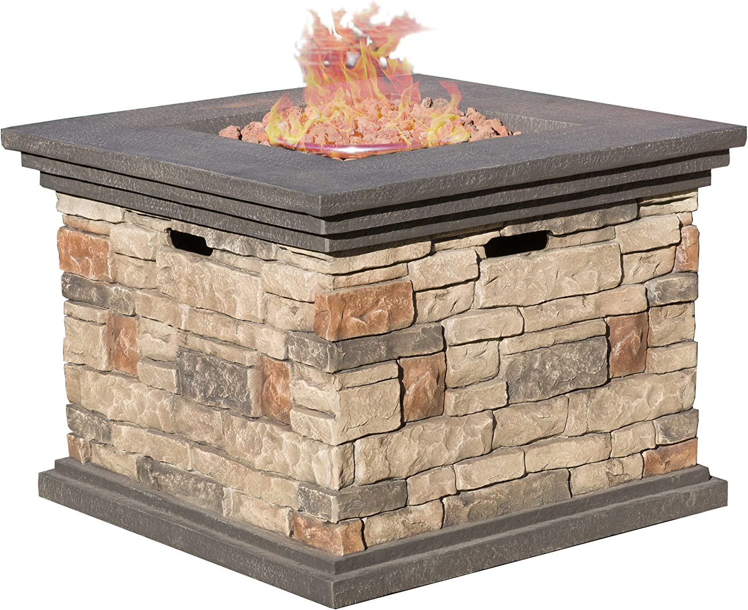Christopher Knight Home 296587 Crawford Outdoor Square Propane Fire Pit with, Stone
