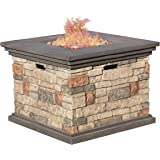 Christopher Knight Home 296587 Deal Furniture | Crawford | Outdoor Square Propane Fire Pit with, Stone