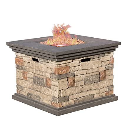 amazon com christopher knight home crawford outdoor square stone rh amazon com  az patio heaters steel propane fire pit table
