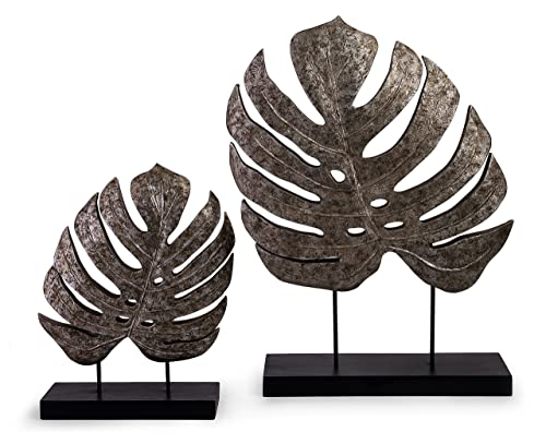 Imax 13424-2 Silver Antiqued Leaves – Set of 2, 13.25x11x3.75