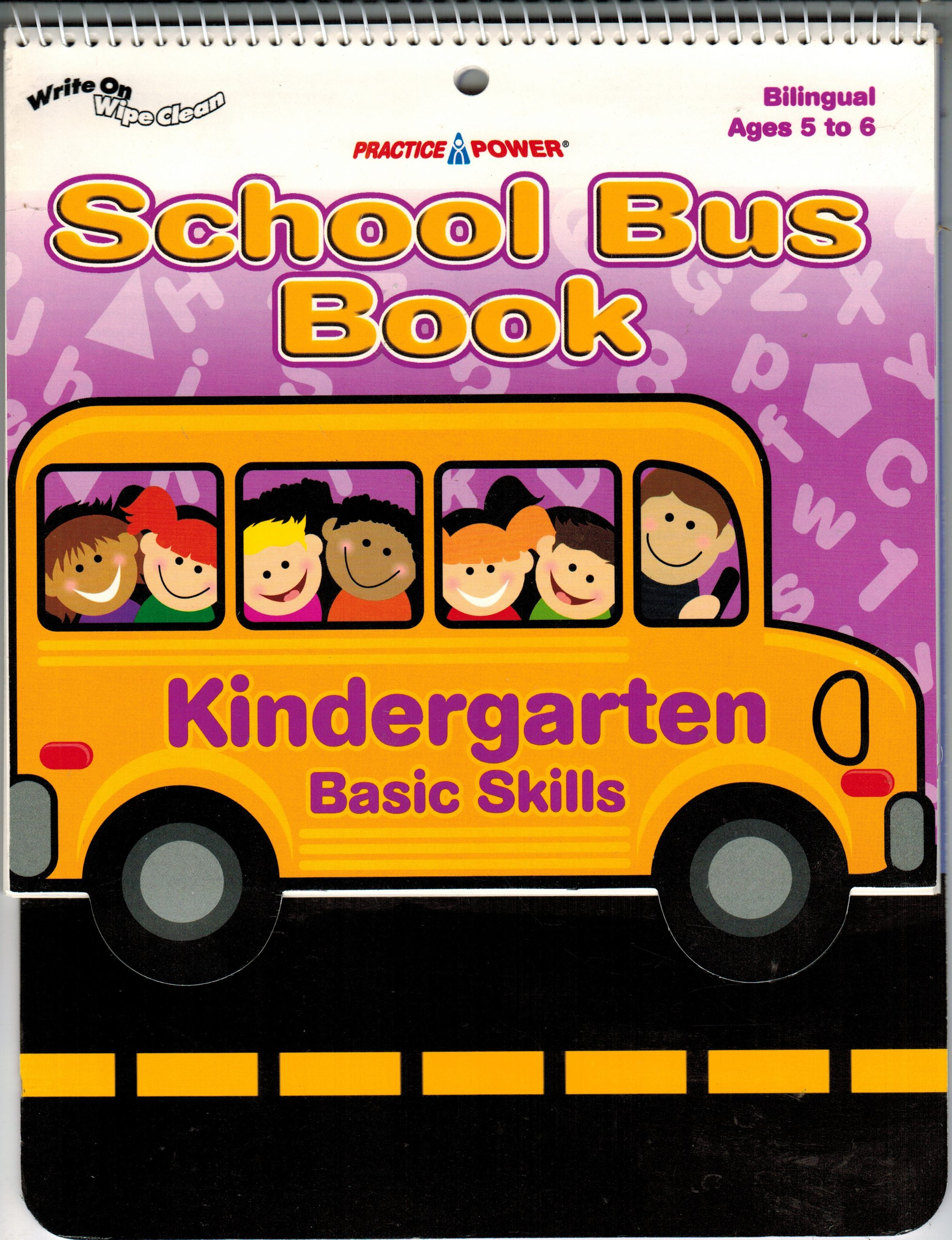 Kindergarten Basic Skills School Bus Book, Bilingual Ages 5-6, Wipe Off, Practice Power