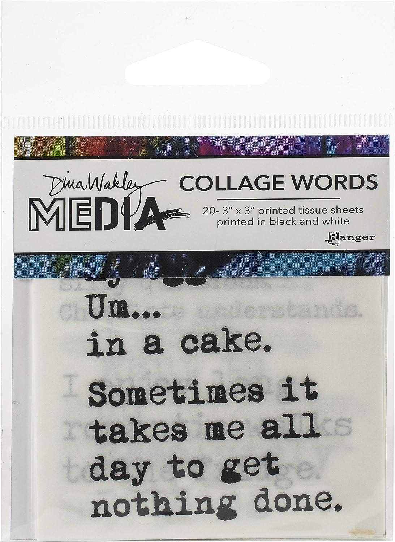 Dina Wakley Media Collage Word Pack 3X3 20//Pkg-#3