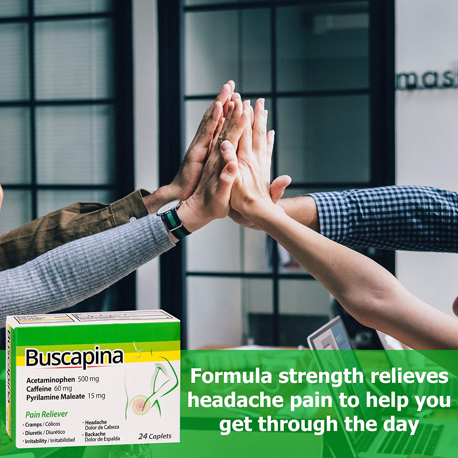 Buscapina Multi Symptom Pain Relief (24 caplets) - Menstrual Cramp Defense, Extra Strength for Headache, Backache, Bloating, Plus More for Men and ...