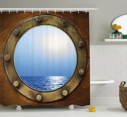 Ambesonne Ship Porthole Print Polyester Fabric Shower Curtain Brown Blue Gold