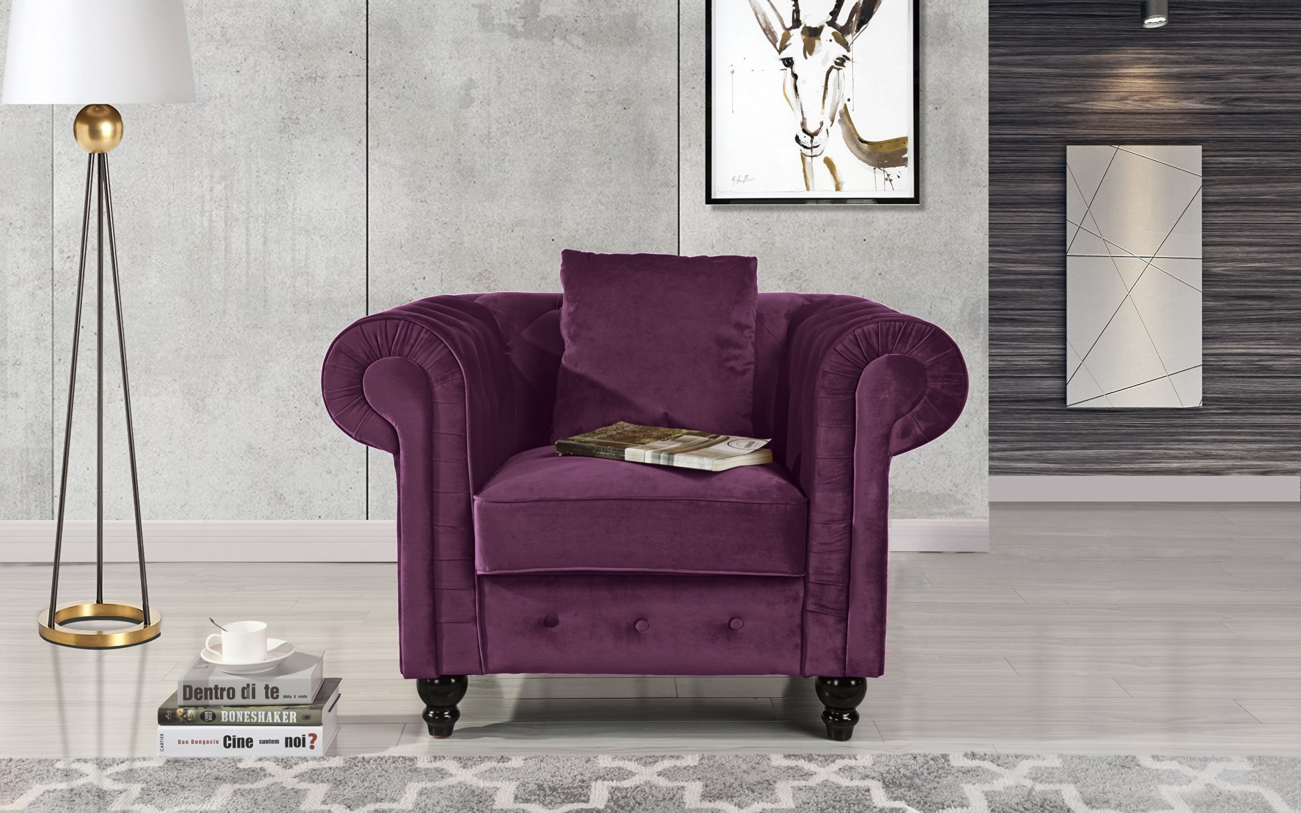Classic Scroll Arm Large Velvet Living Room Chesterfield Accent Chair (Purple) - Ultra soft and comfortable chesterfield style large accent chair with tufted design for that classic and sophisticated look Premium velvet upholstery with overstuffed arms and back rests for comfort, tufted plush arm rests Includes decorative pillow and features victorian style dark wooden legs. - living-room-furniture, living-room, accent-chairs - 916IiTGGjZL -